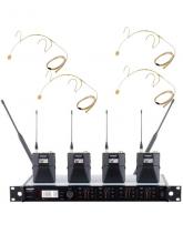 Аренда 4-х канальной радиосистемы Shure ULXD с головными микрофонами телесного цвета DPA-4088